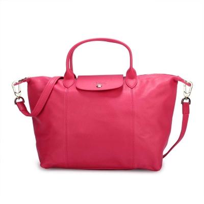 Longchamp Le Pliage Cuir小羊皮短把折疊中型水餃包-桃紅色