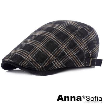 AnnaSofia 英倫咖線格 鴨舌帽小偷帽(酷黑系)