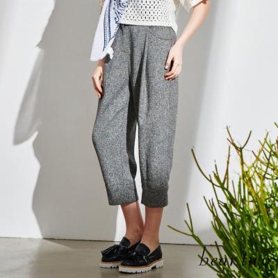 beartwo-俐落感寬版摺線打摺造型褲-黑色