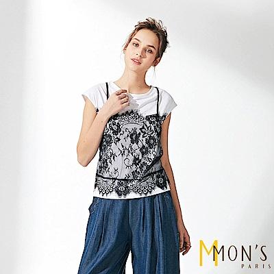 MONS 輕奢華蕾絲彈性棉上衣