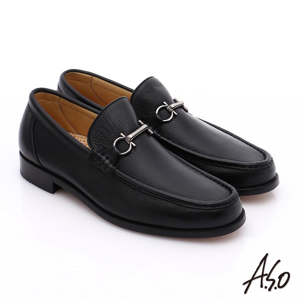 A.S.O 尊榮青紳 柔軟鹿皮雙釦環紳士鞋 黑色