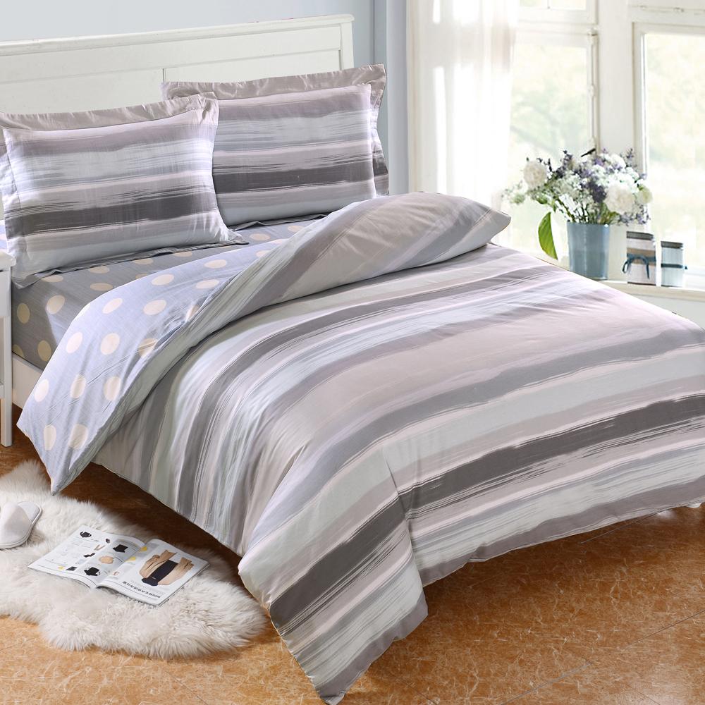 HOYACASA莫里斯 加大四件式抗菌精梳棉兩用被床包組