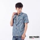 BIG TRAIN 和風拔色印花短袖襯衫-男-靛藍