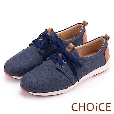 CHOiCE 率性休閒 牛仔布拼接牛皮綁帶休閒鞋-藍色