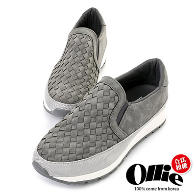 Ollie韓國空運-正韓製皮革編織休閒懶人增高鞋-灰
