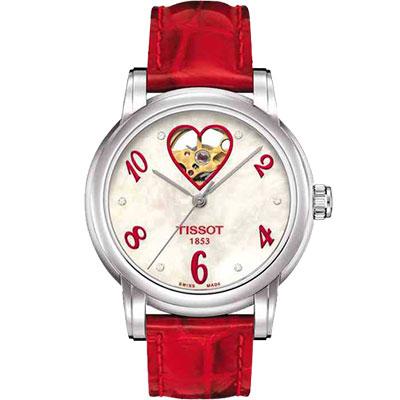 TISSOT Lady Heart 愛【心】鏤空真鑽機械腕錶-35mm