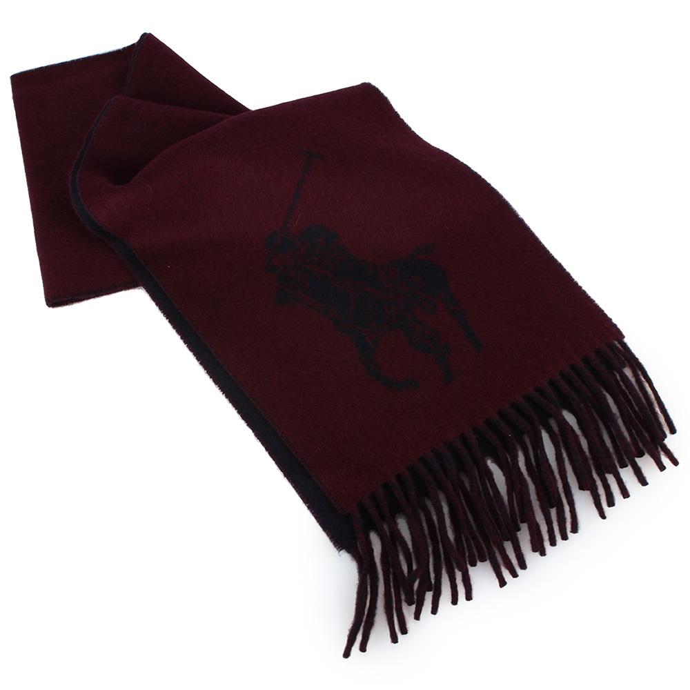 RALPH LAUREN POLO 經典大馬LOGO雙色羊毛圍巾-酒紅色GUCCI
