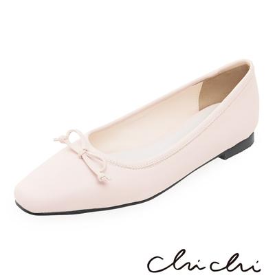 Chichi 韓國直送-優雅蝴蝶結小方頭娃娃鞋*粉色