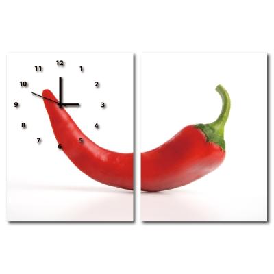 24mama掛畫-二聯直幅有機蔬菜餐廳飯店日本機芯時鐘無框畫掛畫-辣椒-30x40cm