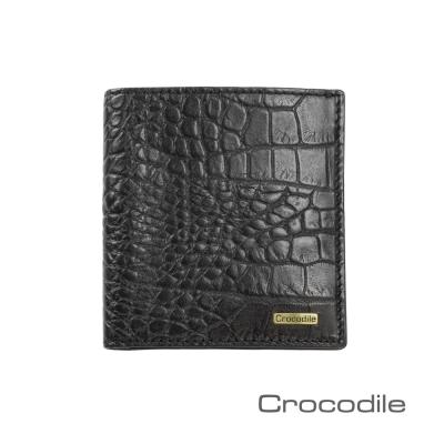Crocodile Croco系列鱷魚壓紋短夾-直式薄型款0103-5006
