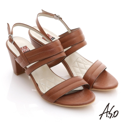 A.S.O 軟芯系列 蠟感真皮簡約低粗跟涼鞋 茶