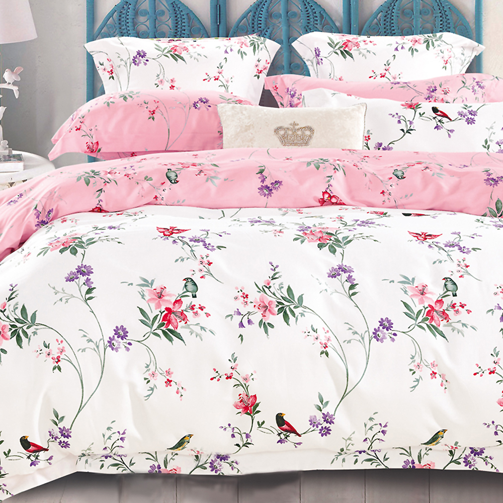 AmoreCasa 美麗花園 100%棉緞雙人被套床包組