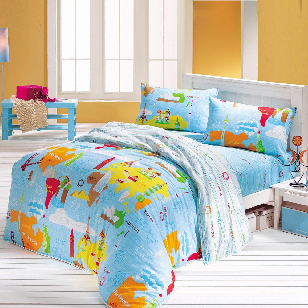 鴻宇 美國棉 防蹣抗菌 環遊世界 雙人床包枕套三件組