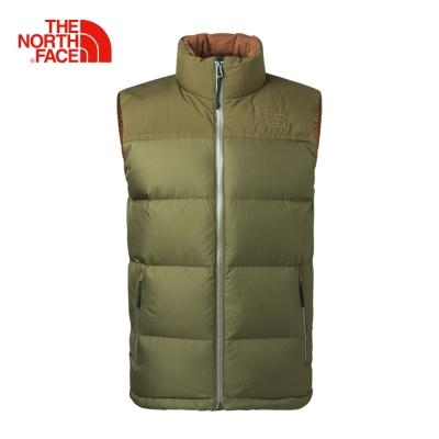 The North Face北面男款綠色保暖防潑水羽絨背心