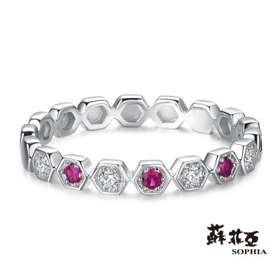 蘇菲亞SOPHIA 鑽石戒指 - 伏爾岡 鑽石佐紅寶線戒