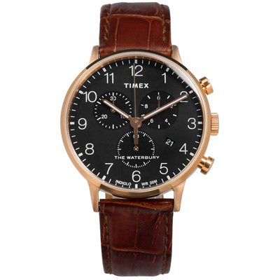 TIMEX 天美時 美國品牌 INDIGLO專利冷光真皮手錶-黑x玫瑰金框x咖啡/40mm