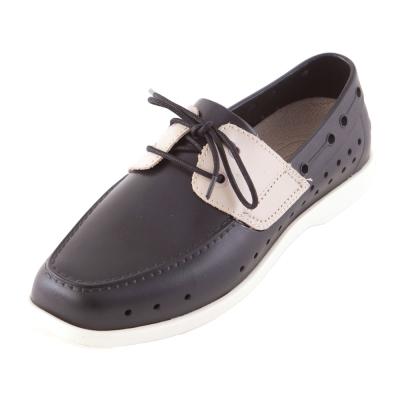 (男/女)Ponic&Co美國加州環保防水洞洞綁帶帆船鞋-黑色