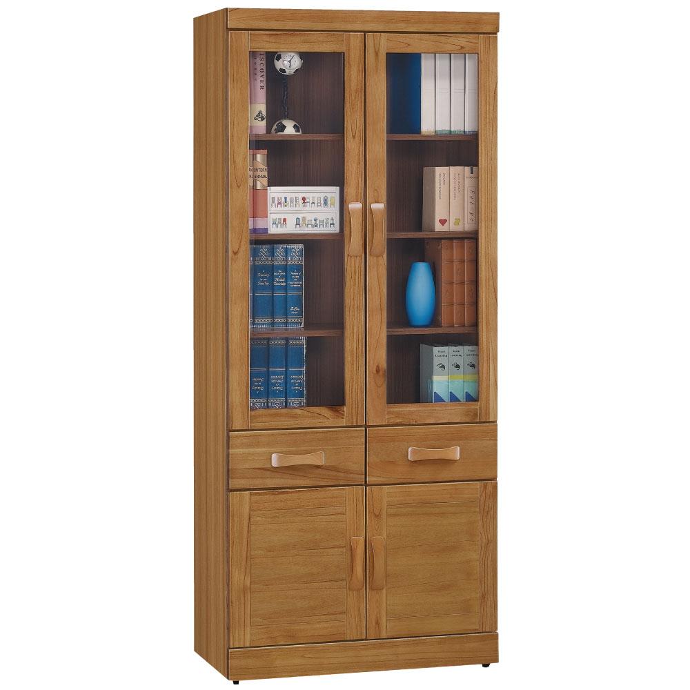 品家居 克莉絲蒂2.7尺柚木中抽書櫃