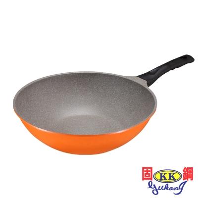 固鋼 亮麗橘鈦石不沾炒鍋32cm