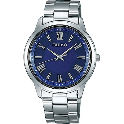 SEIKO精工SPIRIT簡單美學太陽能腕錶(V131-0AG0B)-38mm/藍
