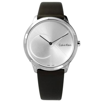 CK minimal經典簡約大CK瑞士機芯防水皮革手錶-銀x棕40mm