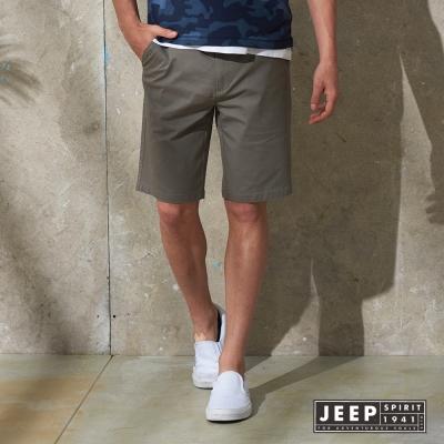 JEEP 美式輕時尚素面休閒短褲 灰色 (合身版)