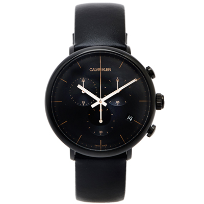 CK Calvin Klein high noon復古風計時款皮革手錶-黑面/43mm