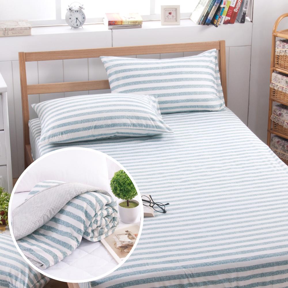 日本濱川佐櫻-慢活.綠 活性無印風雙人四件式涼被床包組