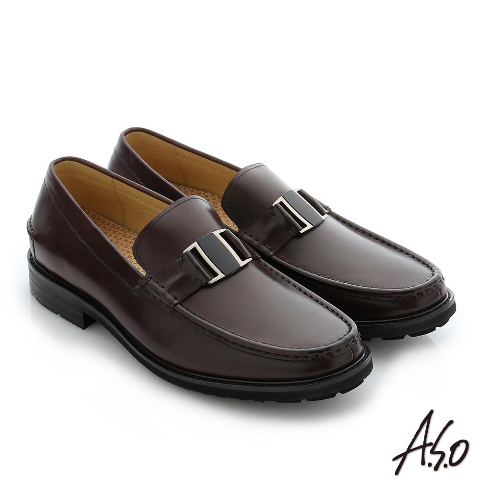 A.S.O 3D超動能 職場通勤真皮奈米紳士鞋 咖啡色