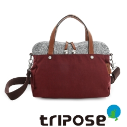 tripose 漫遊系列岩紋玩色兩用手提背包 酒紅