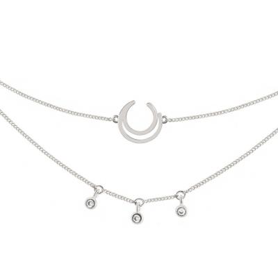 ASTRID&MIYU英國潮流品牌 幾何許願骨項鍊 銀色