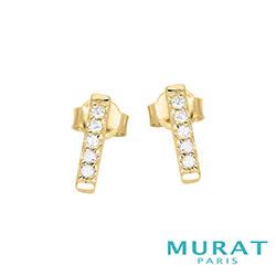 MURAT Paris米哈巴黎 極簡排鑽耳環(金色款)