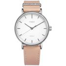 TIMEX 天美時 極簡風格 INDIGLO專利冷光照明 真皮手錶-白x粉/39mm