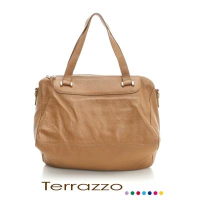 義大利Terrazzo-高質感牛皮獨特造型肩背包-杏色 23E0007A10733
