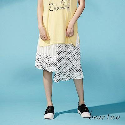 beartwo 拼接感不對襯百摺點點及膝裙(二色)
