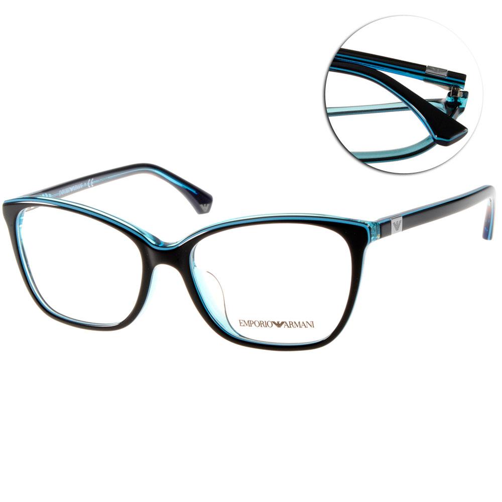 EMPORIO ARMANI眼鏡 義式貓眼/黑-水藍#EA3053F 5350