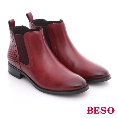 BESO 潮人街頭風 牛皮鉚釘直套式短靴  紅色