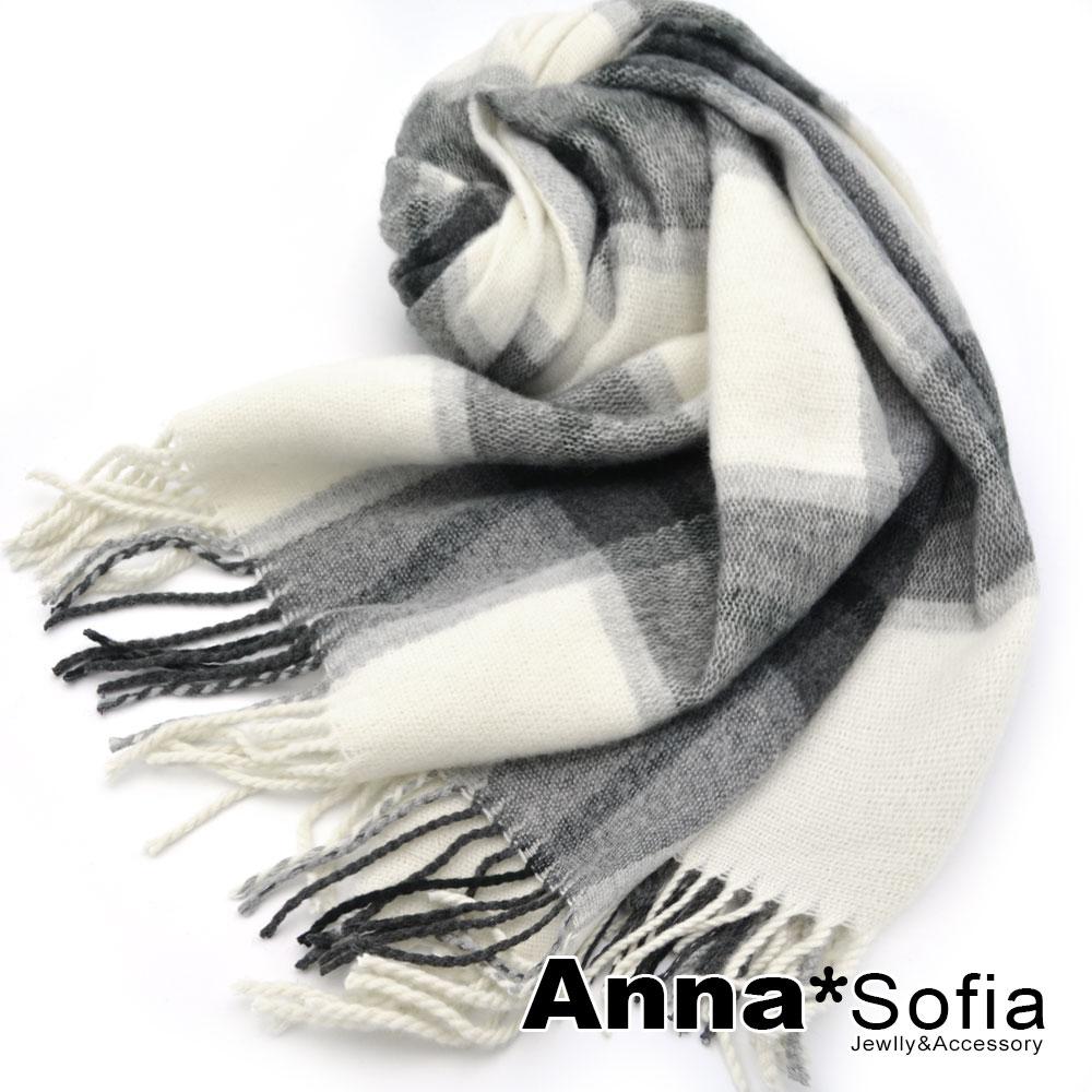 【2件75折】AnnaSofia 知性氣質格紋 厚織仿羊絨大披肩圍巾(米灰系)