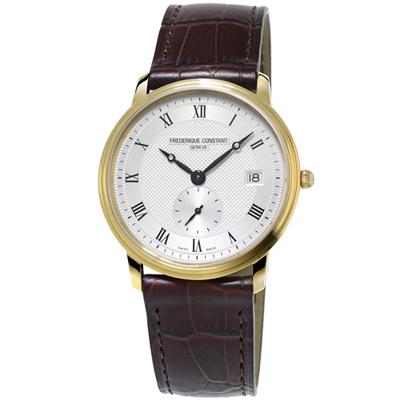 康斯登 CONSTANT SLIMLINE超薄系列紳士小秒針腕錶-咖啡/37mm