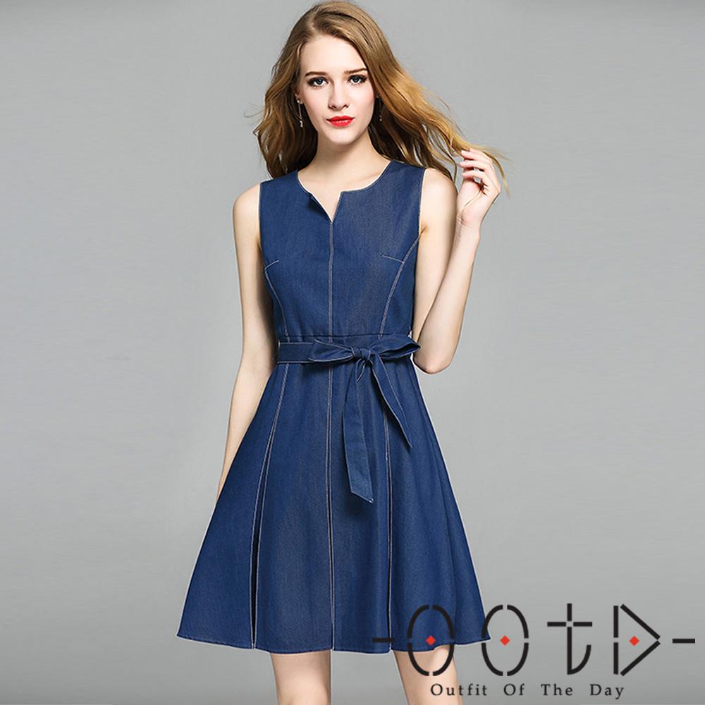 削肩收腰綁帶牛仔連身裙藍色-OOTD