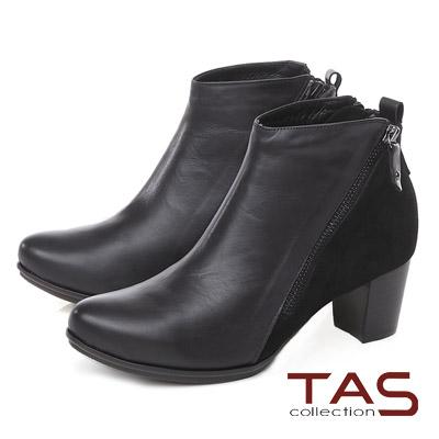 TAS 雙拉鍊麂皮拼接素面高跟短靴-個性黑