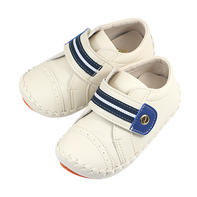 Swan天鵝童鞋-條紋翹頭學步鞋 1530-米