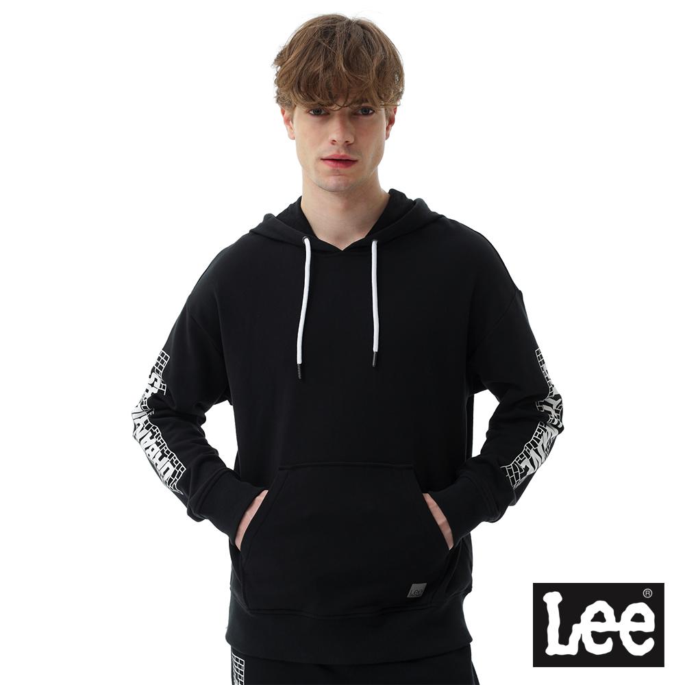 Lee 連帽長袖厚T手臂個性文字印刷- 男款-黑色