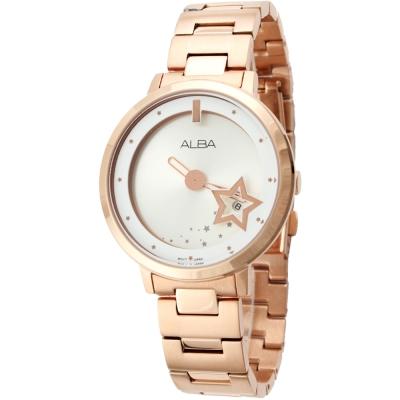 ALBA 時尚星星浪漫淑女腕錶(AG8366X1)-白玫瑰金/38mm