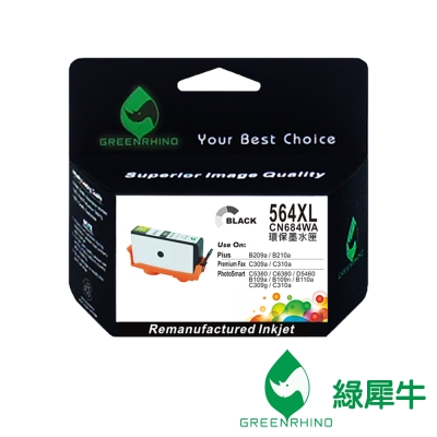 綠犀牛 for HP NO.564XL CN684WA 黑色高容量環保墨水匣