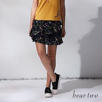beartwo 網路獨家-春漾碎花層次波浪蛋糕短裙(藍色)