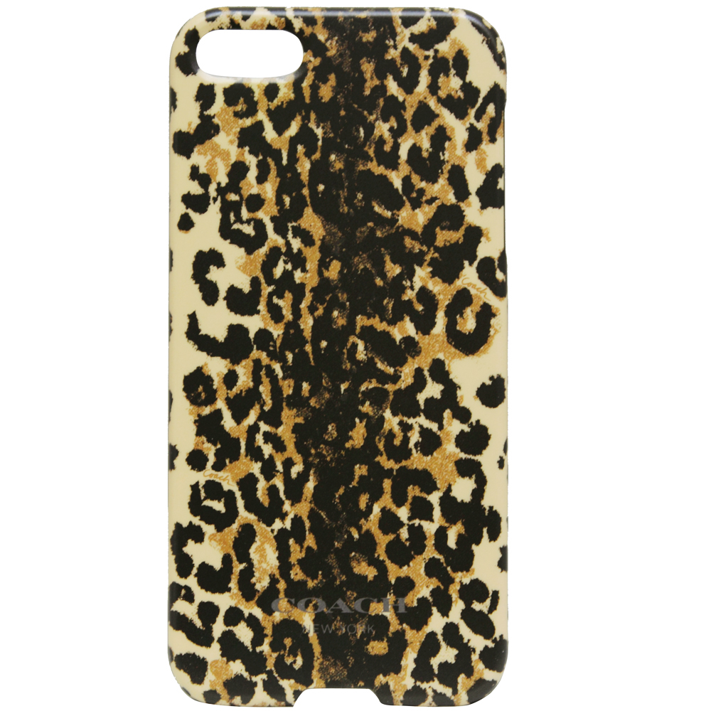 COACH豹紋圖騰I Phone 5手機保護殼-卡其(附原廠盒裝)COACH