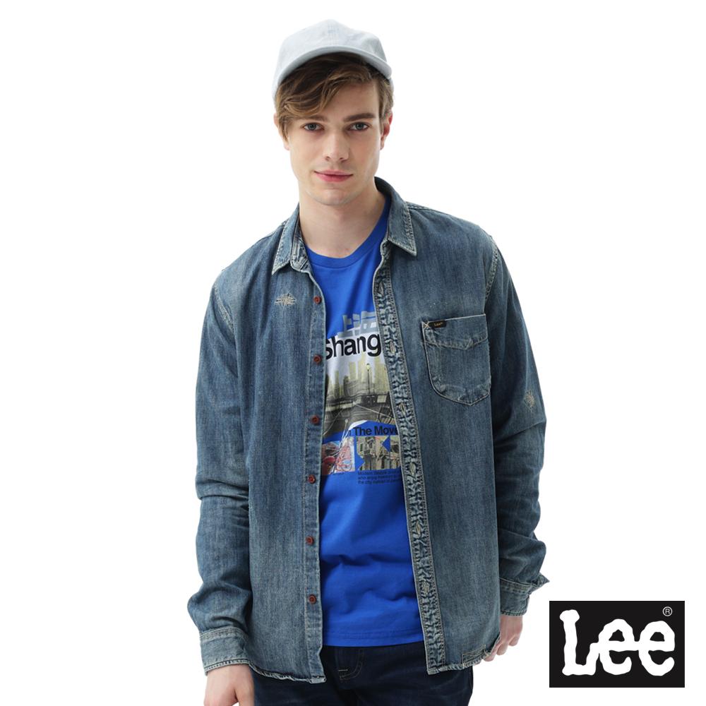 Lee 牛仔小刷破長袖襯衫/VL-男款-藍