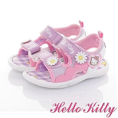 HelloKitty 花朵系列 輕量減壓休閒涼鞋童鞋-紫