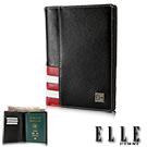 ELLE HOMME 法式紅白黑系列-3卡護照鈔票真皮中夾- 黑色